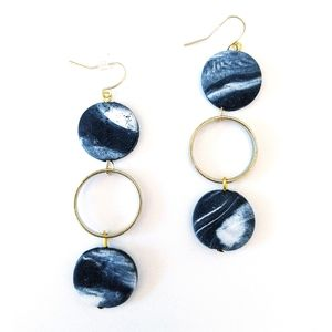 Black & White marbled statement earrings with gold